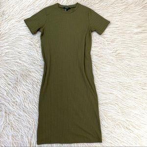 Forever 21 ribbed bodycon dress olive green midi